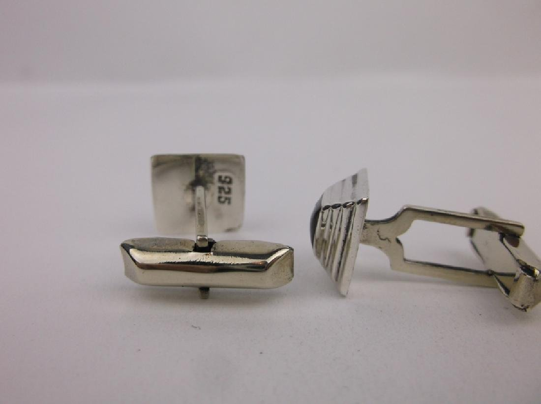 Gorgeous Sterling Silver Onyx Cufflinks - 2