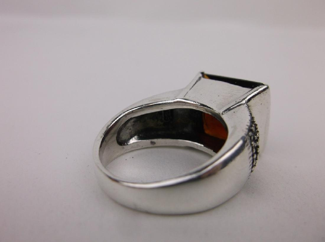 Stunn Sterling Silver Red Stone Ring 7 - 3
