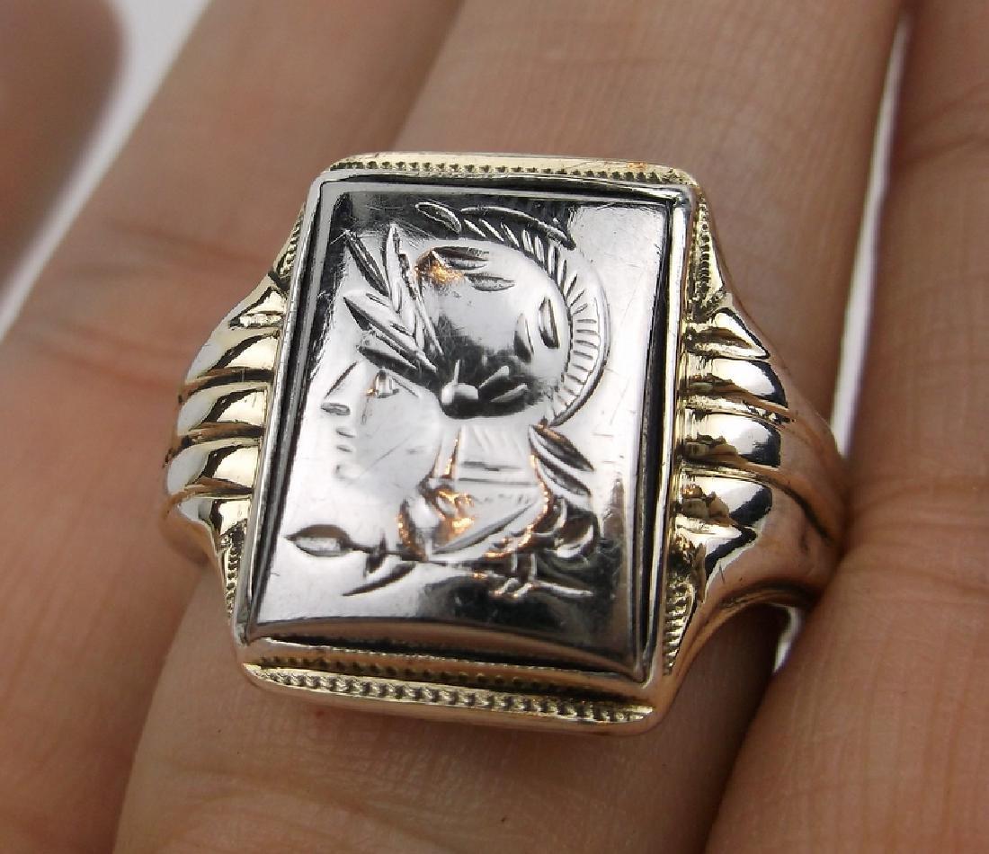 Stunn Antique 10k Sterling Soldier Ring 9.5