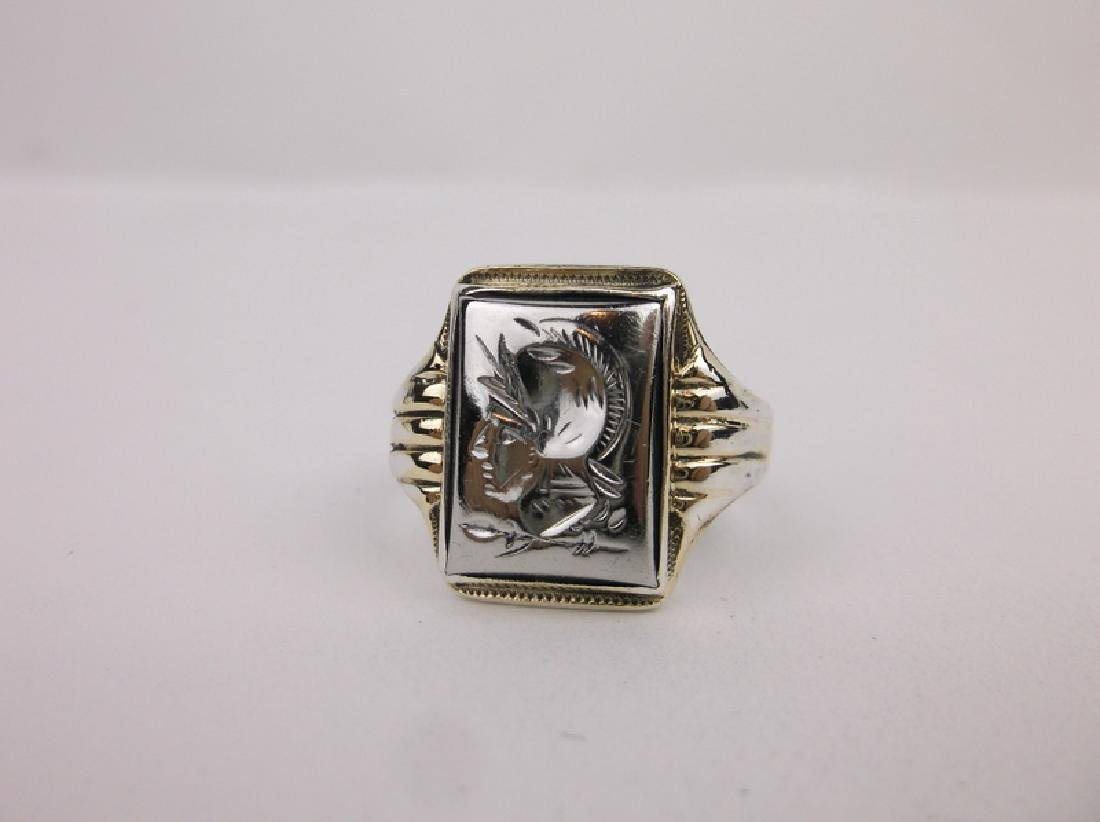 Stunn Antique 10k Sterling Soldier Ring 9.5 - 2