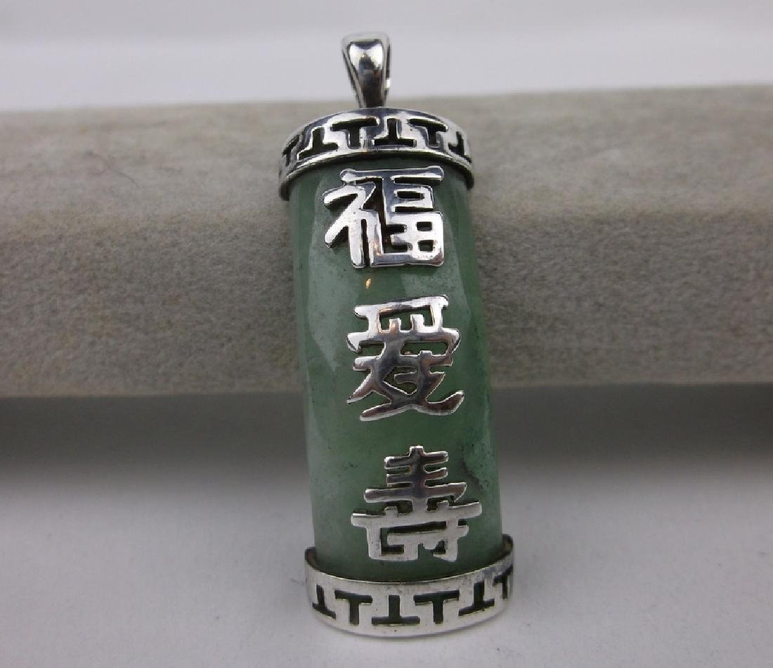 Stunning Sterling Silver Jade Pendant Large