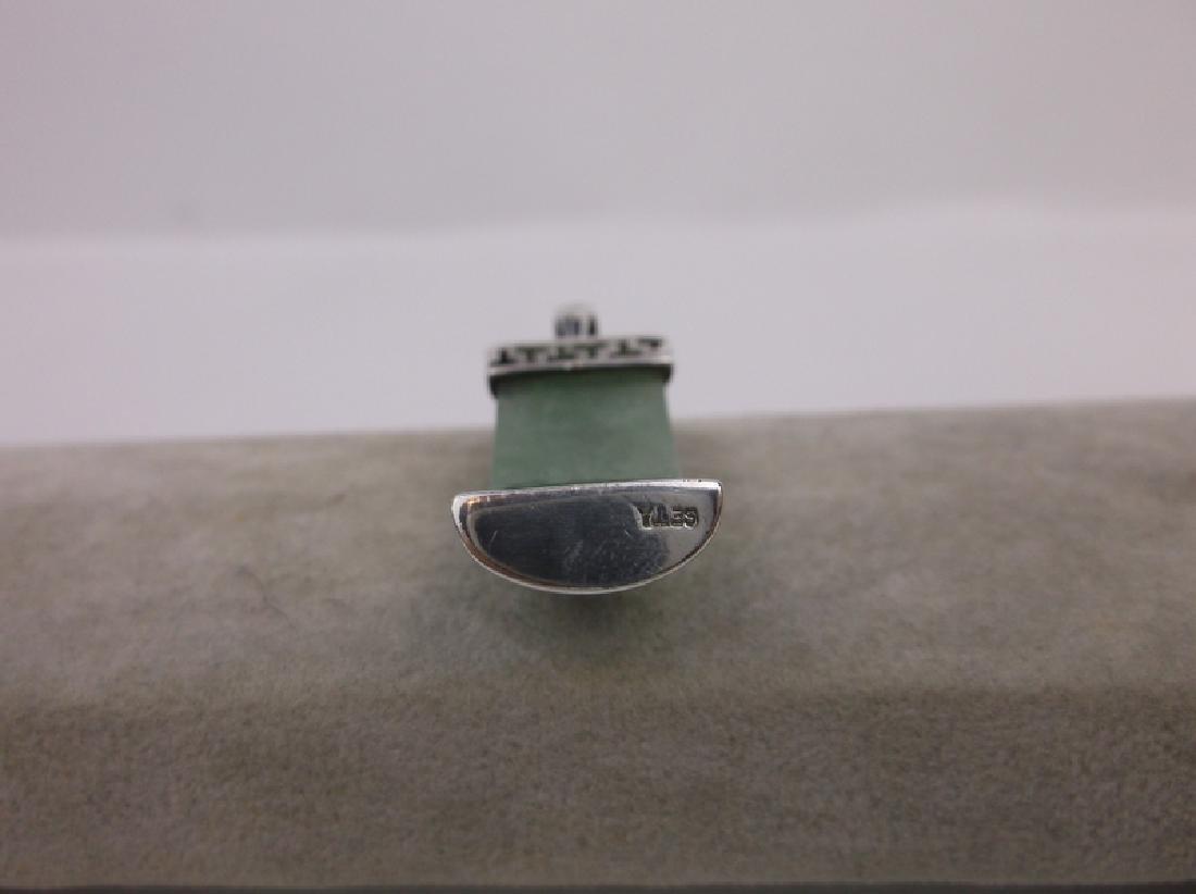 Stunning Sterling Silver Jade Pendant Large - 2