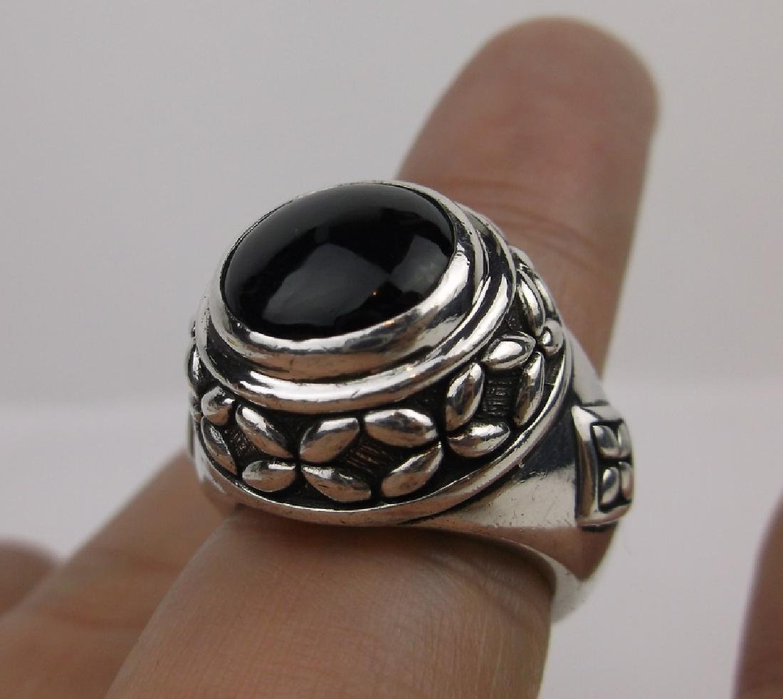 Stunn Huge Heavy Sterling Silver Onyx Ring 7
