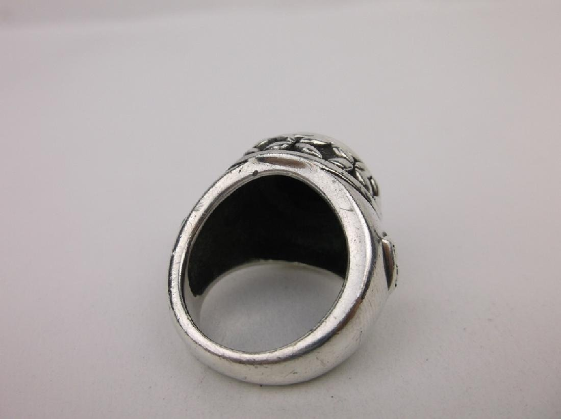 Stunn Huge Heavy Sterling Silver Onyx Ring 7 - 3