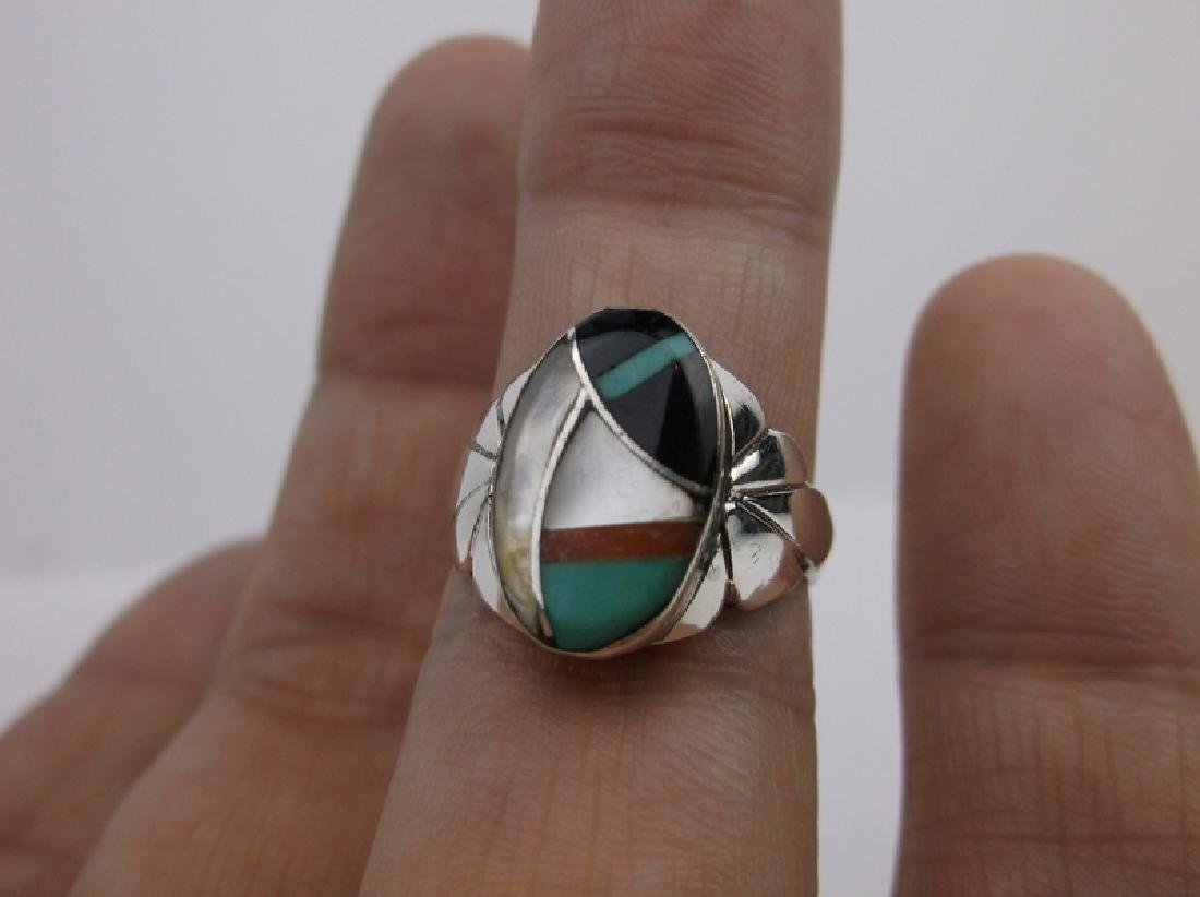Navajo Sterling Silver Turquoise Onyx Ring 6.75