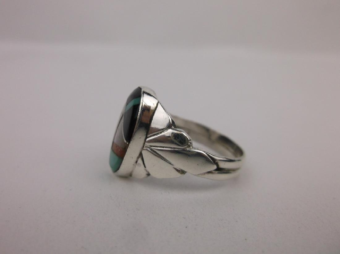Navajo Sterling Silver Turquoise Onyx Ring 6.75 - 2