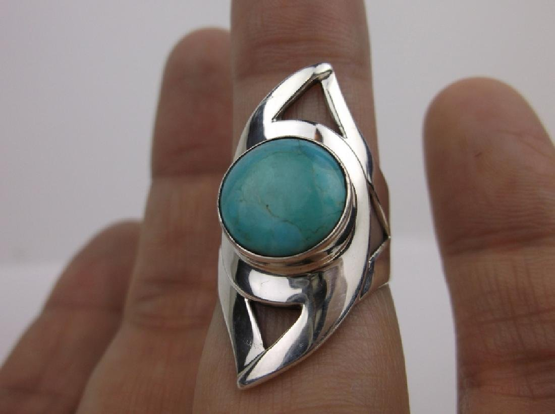 DTR Sterling Silver Turquoise Ring 7.75 Des Rose