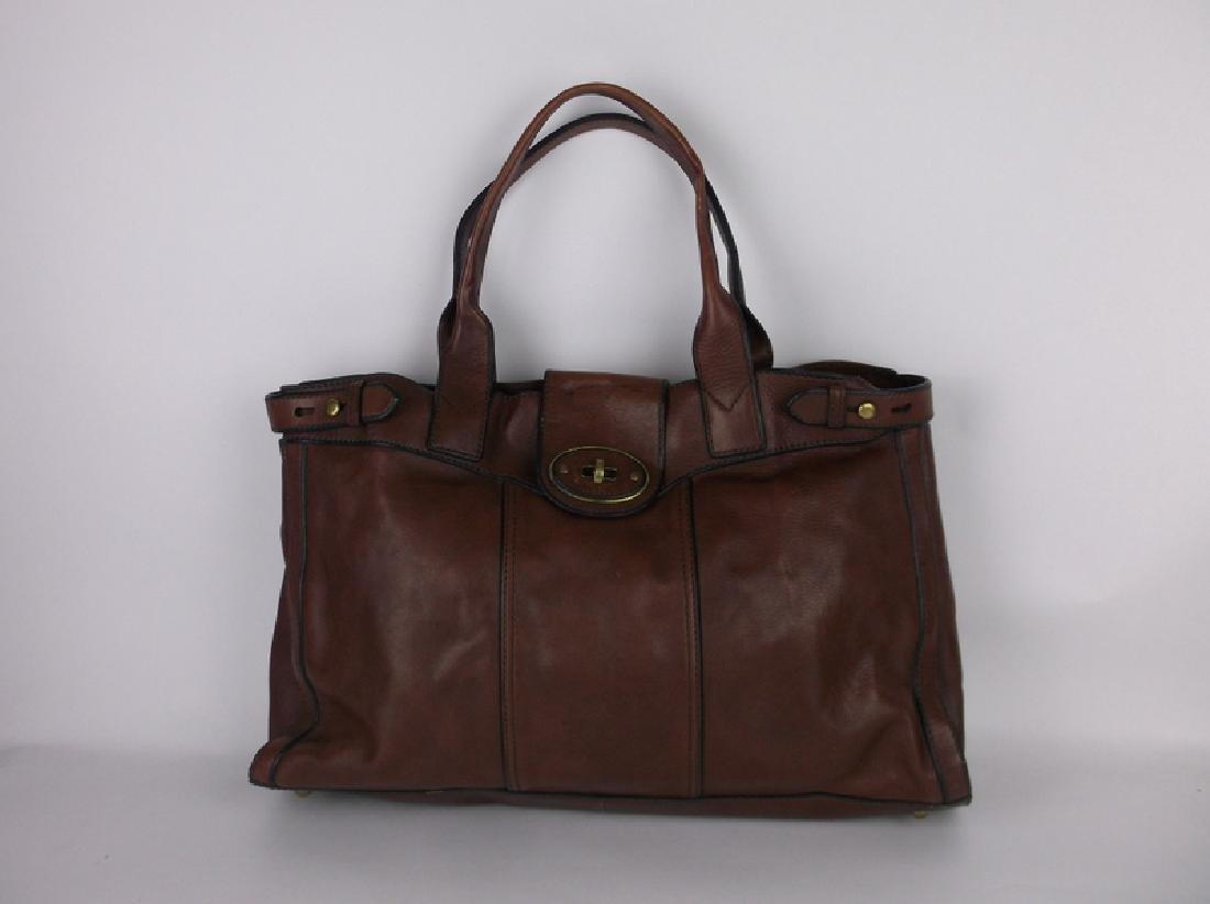 Large Fossil Leather Messenger Bag Handbag