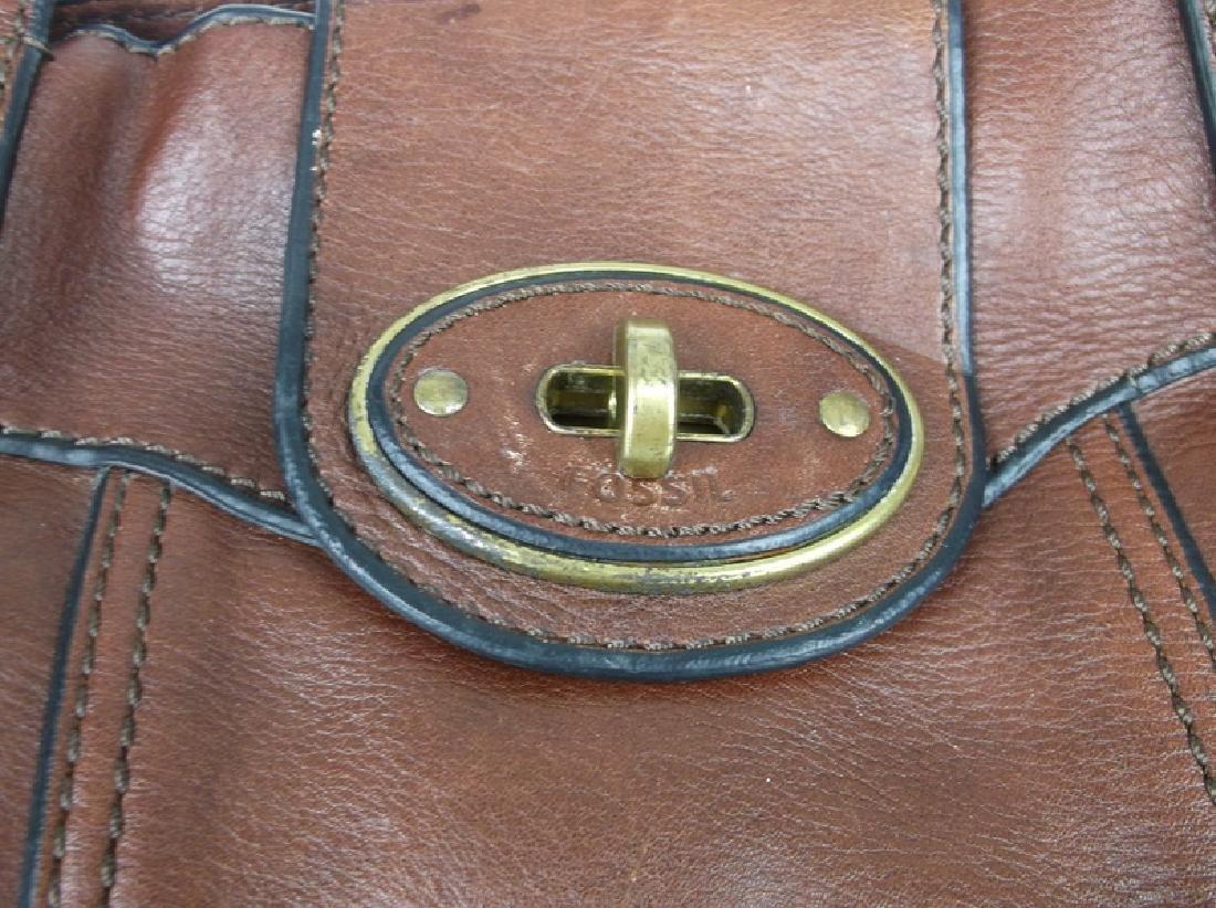 Large Fossil Leather Messenger Bag Handbag - 2