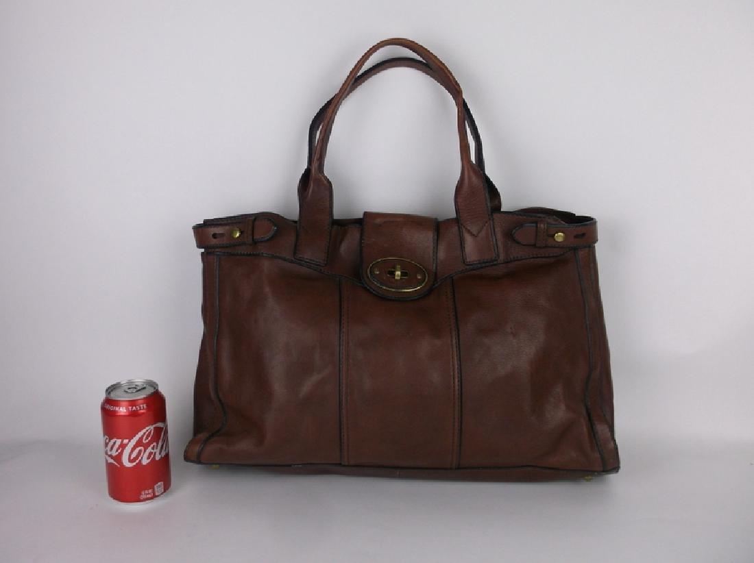 Large Fossil Leather Messenger Bag Handbag - 3
