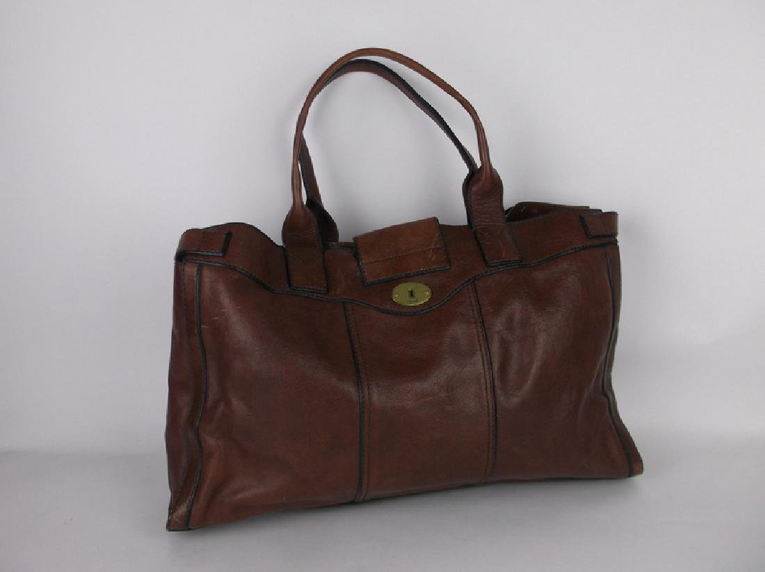 Large Fossil Leather Messenger Bag Handbag - 4