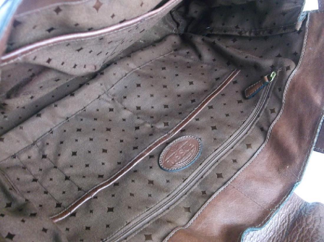 Large Fossil Leather Messenger Bag Handbag - 5