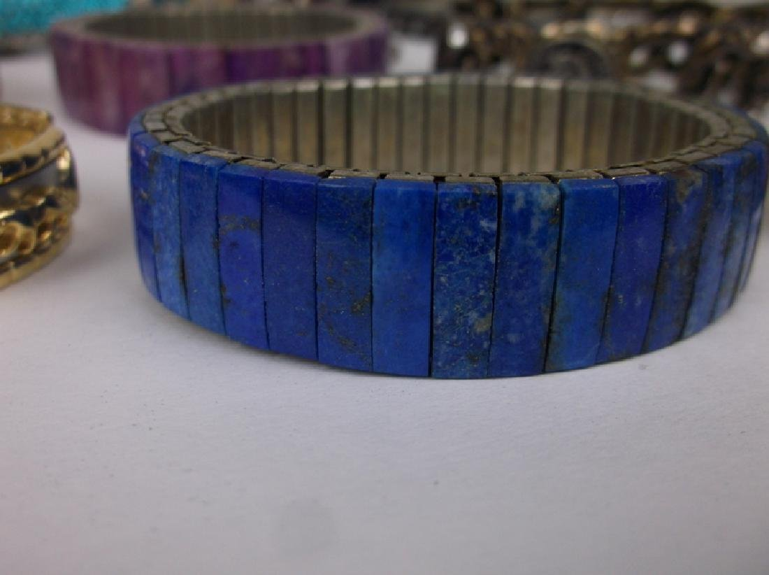 30 Huge Estate Bracelet Lot Lapis Southwest Rhinestone - 3