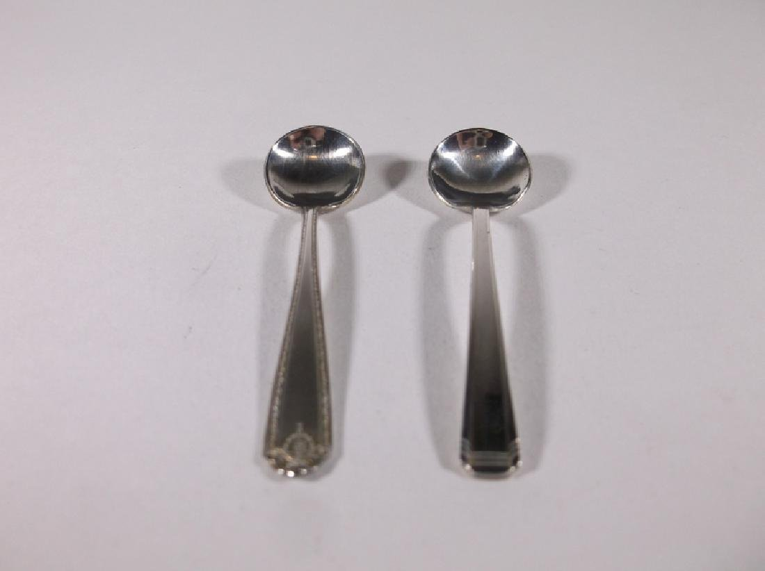 2 Gorgeous Antique Sterling Silver Salt Spoons - 2
