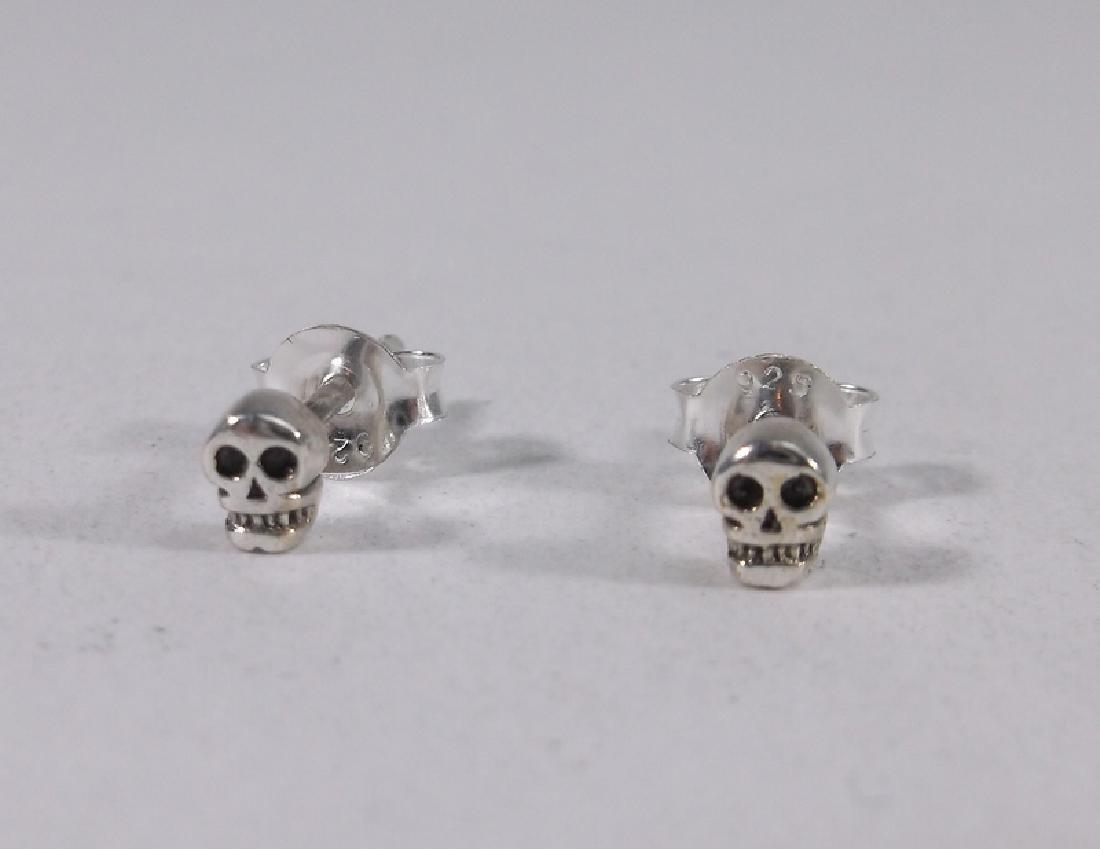 Gorgeous Sterling Silver Skull Earrings Stud