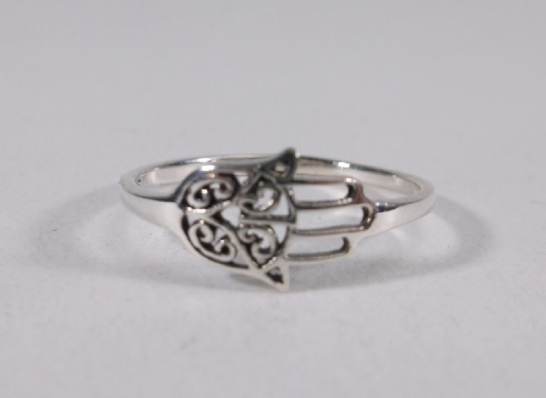 Stunning Sterling Silver Hamsa Hand Ring 7