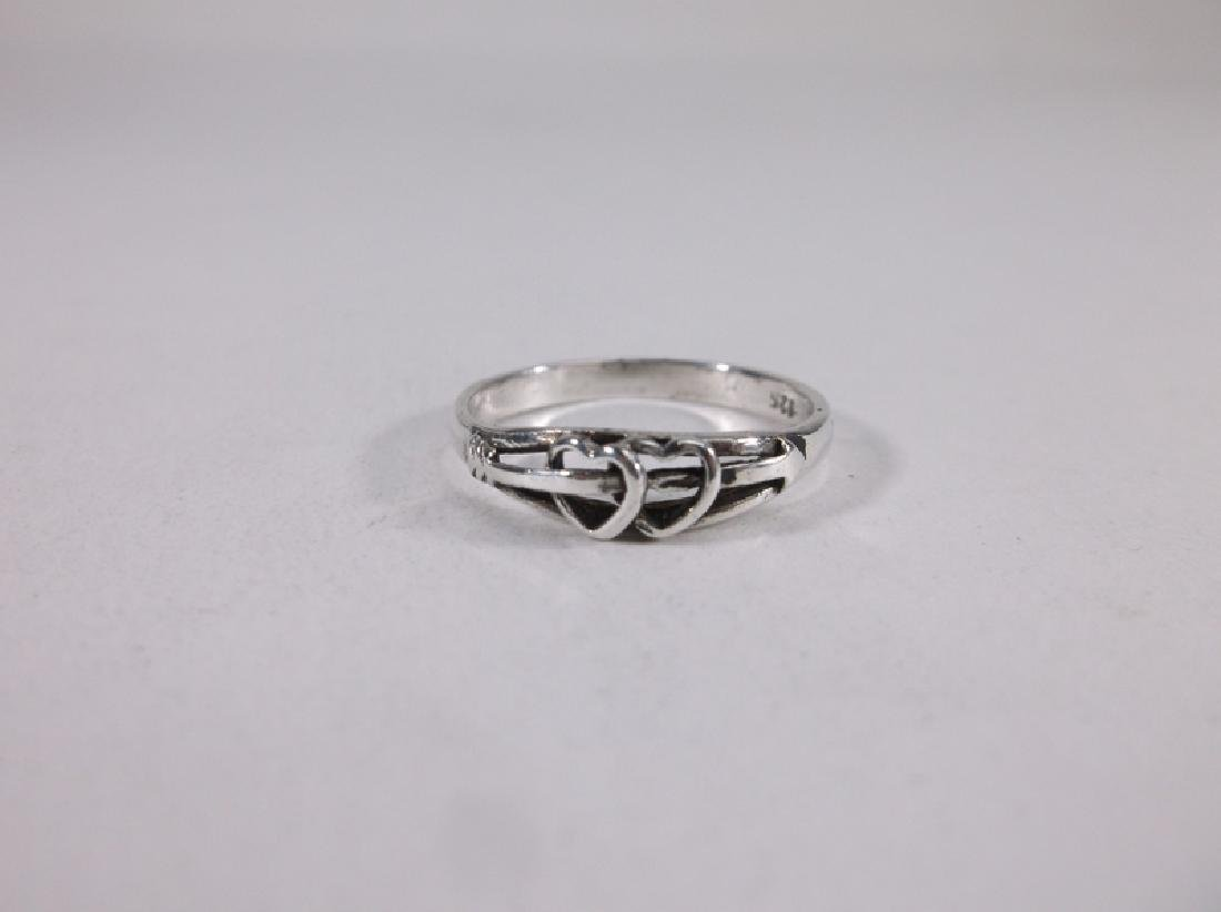 Gorgeous Sterling Silver Hearts Ring 6