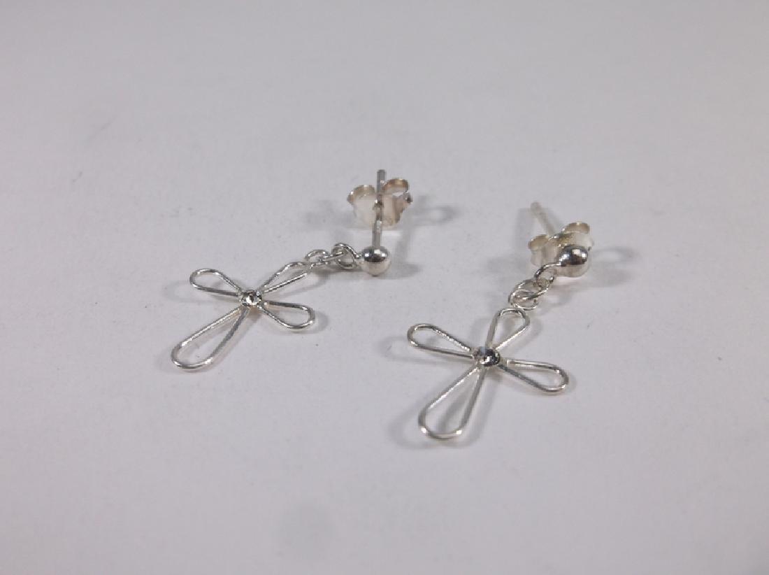 Gorgeous Sterling Silver Cross Stud Earrings Dangly