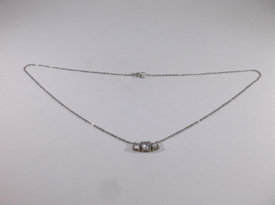 """Gorgeous Sterling Silver White Stone Necklace 16"""""""