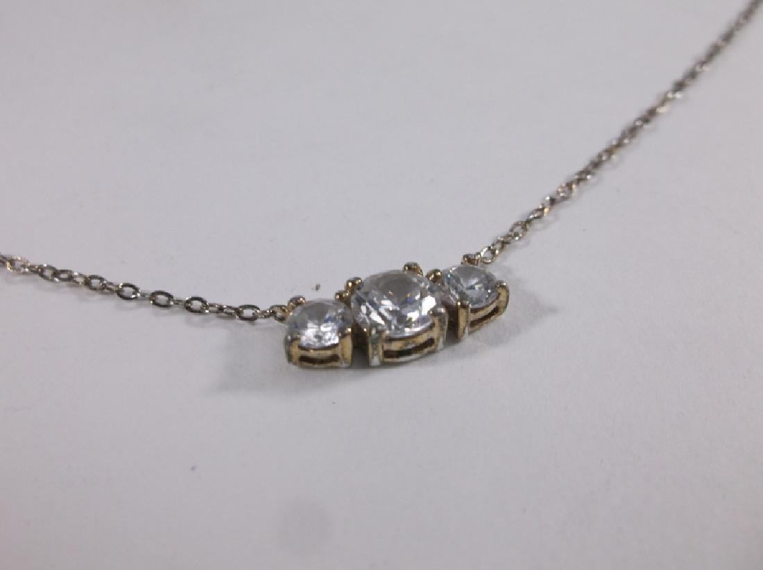 """Gorgeous Sterling Silver White Stone Necklace 16"""" - 2"""