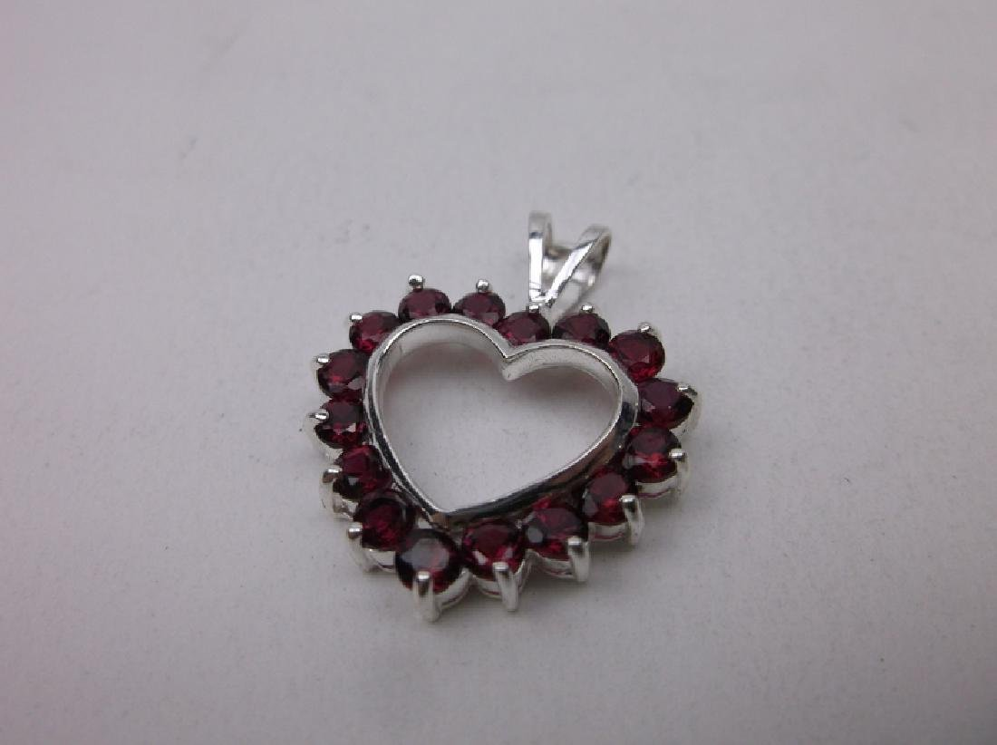 Gorgeous Sterling Silver Red Stone Heart Pendant