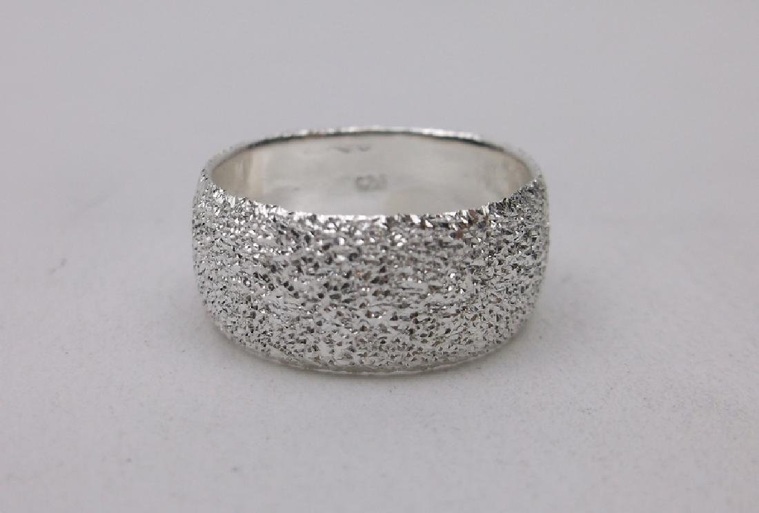 Stunning Sterling Silver Band Ring 6 Wide - 2