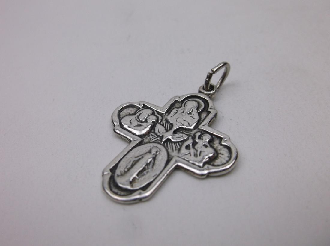 Antique Sterling Silver Catholic Cross Pendant