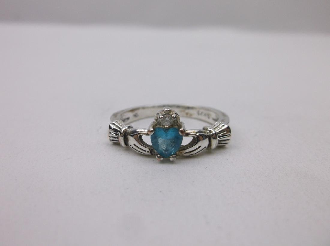 Gorgeous Sterling Aquamarine Claddagh ring 8.5