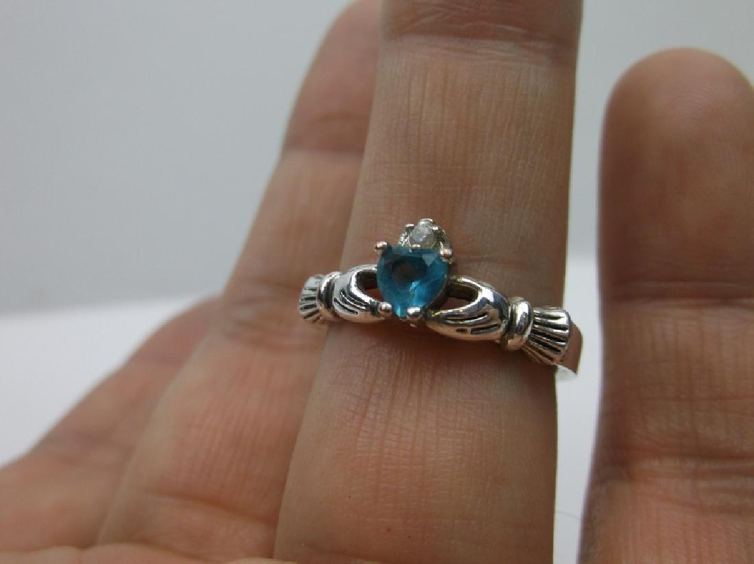 Gorgeous Sterling Aquamarine Claddagh ring 8.5 - 2