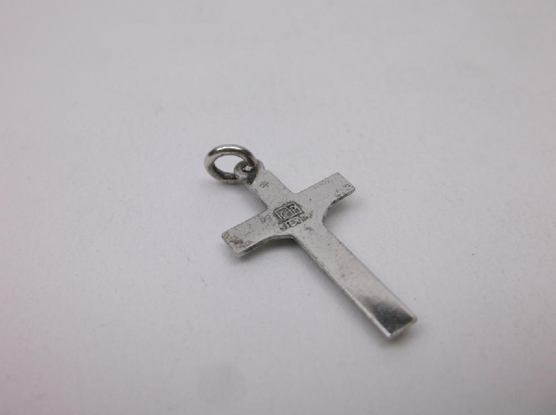 Antique Catholic Sterling Crucifix Charm - 2
