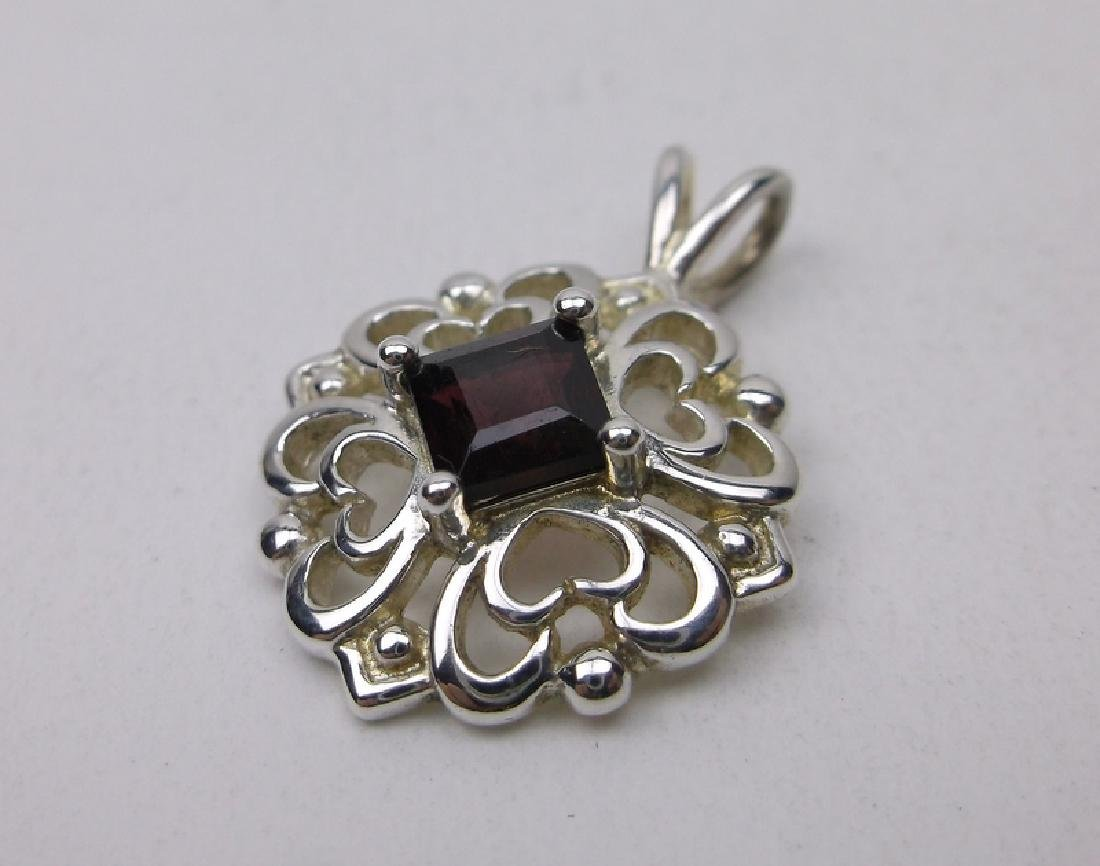 Gorgeous Sterling Silver Garnet Pendant