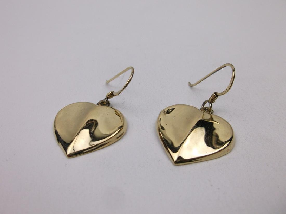 Gorgeous Gold Over Sterling Heart Earrings Puffy