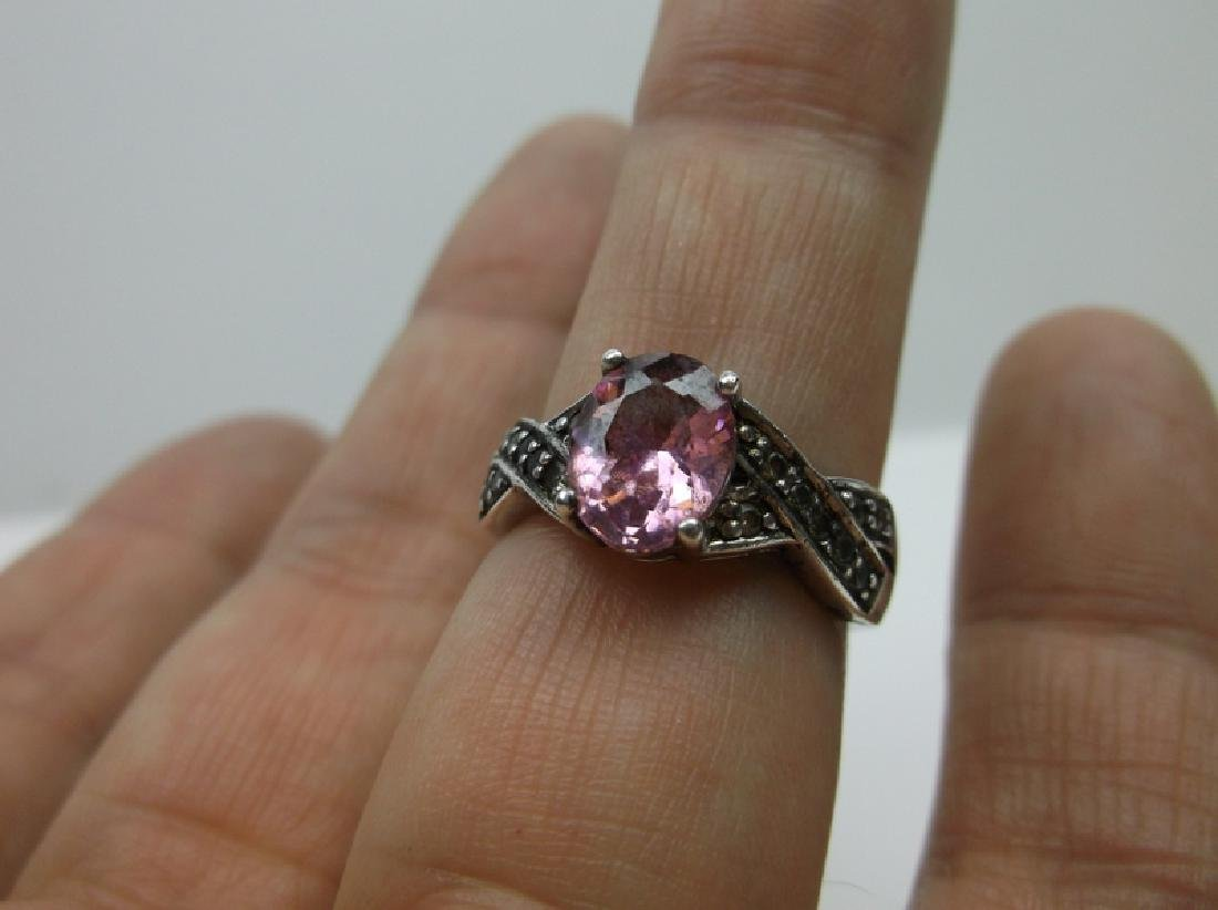 Gorgeous Sterling Silver Pink Stone Ring 7.75