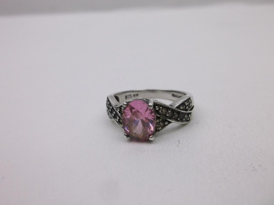 Gorgeous Sterling Silver Pink Stone Ring 7.75 - 2