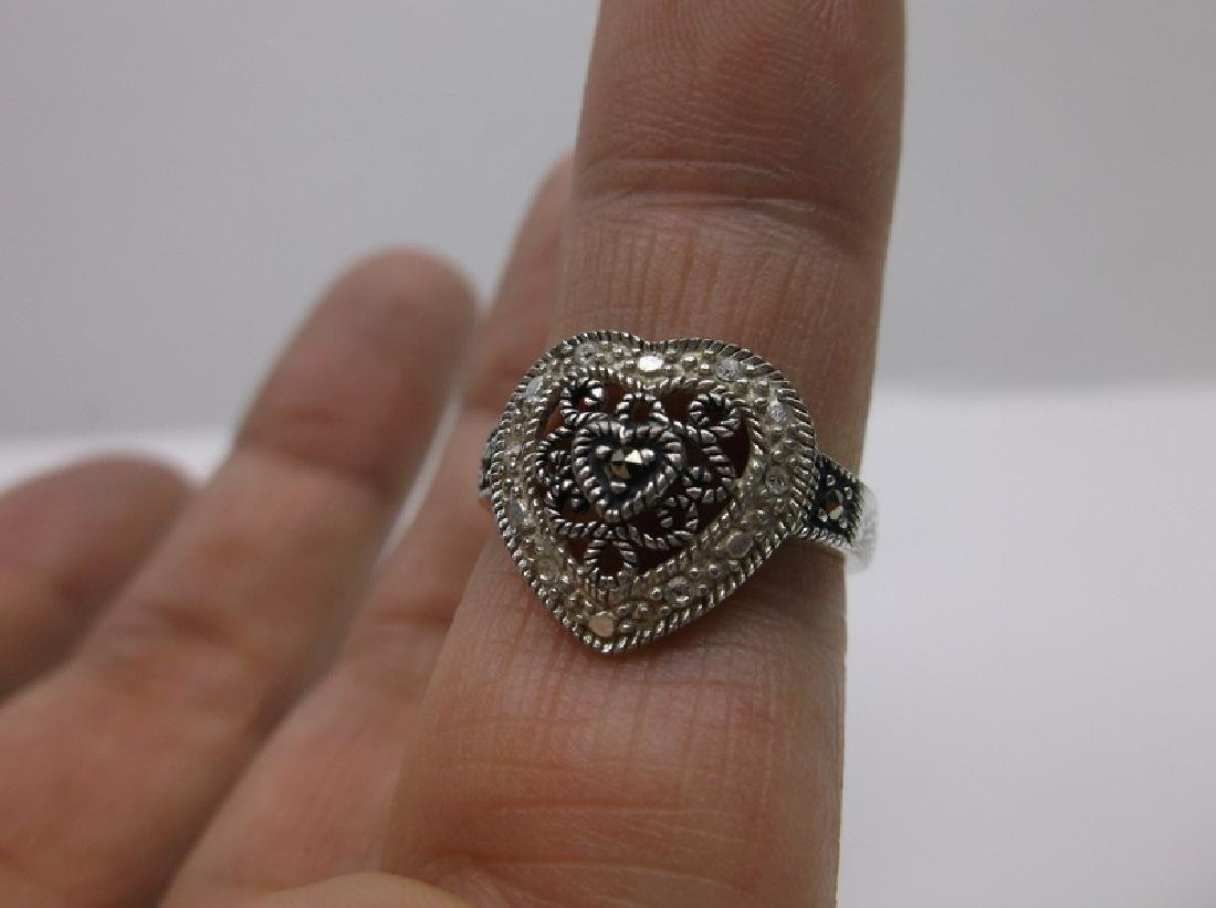 Gorgeous Sterling Silver Heart Ring 6