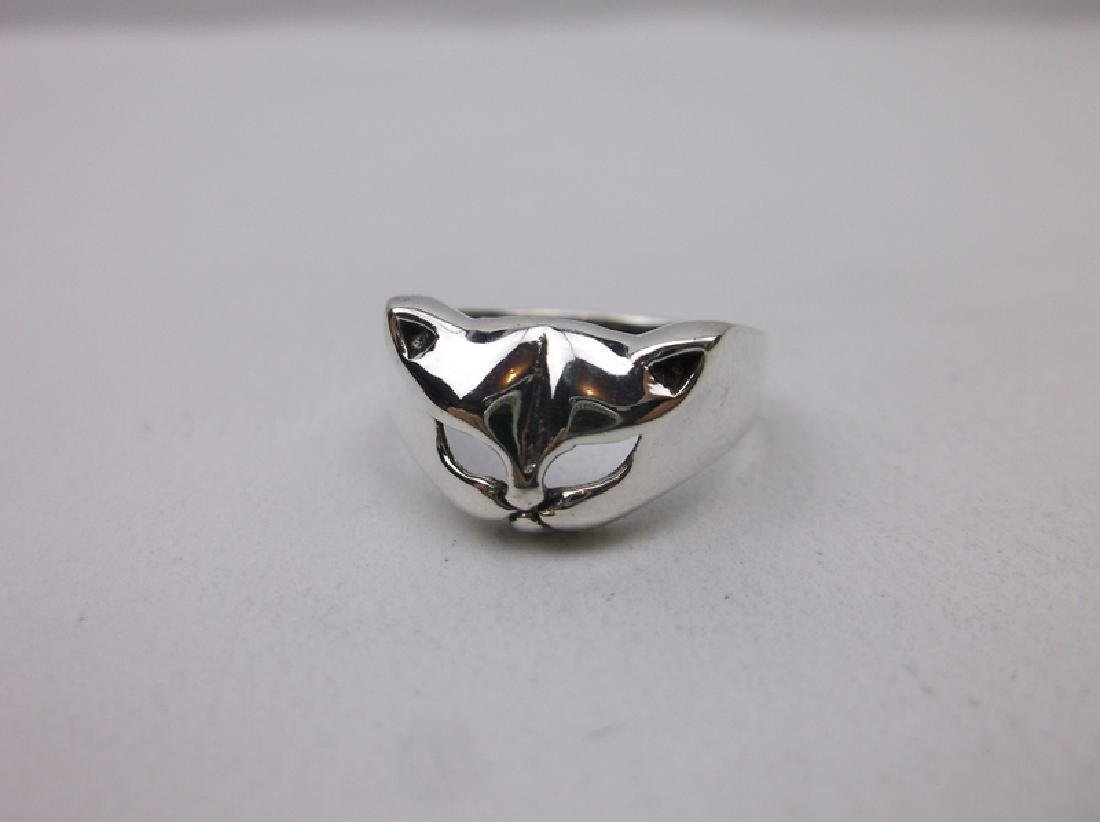 Stunning Sterling Silver Cat Face Ring 7 Kitty - 2