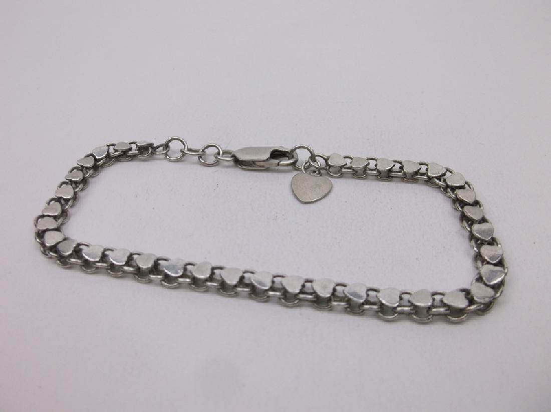 "Gorgeous Vint Sterling Silver Hearts Bracelet 8.25"""