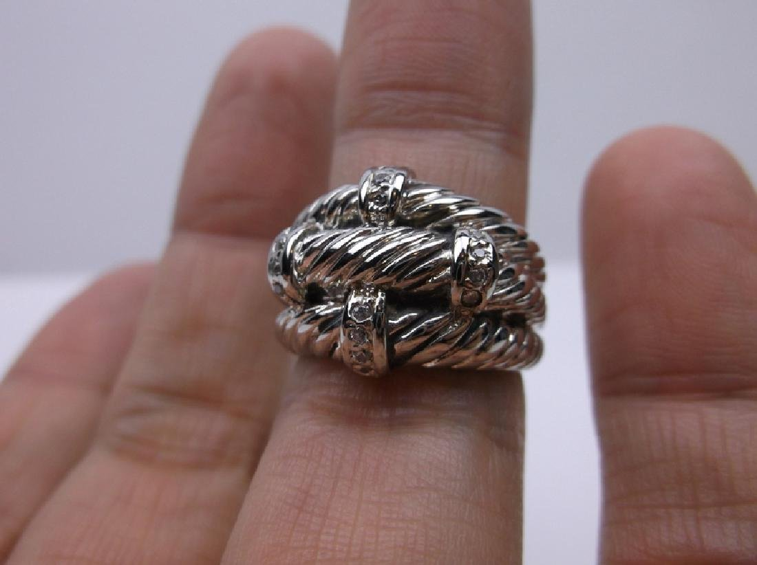 Gorgeous Sterling Silver 3 Rope Ring 6.25