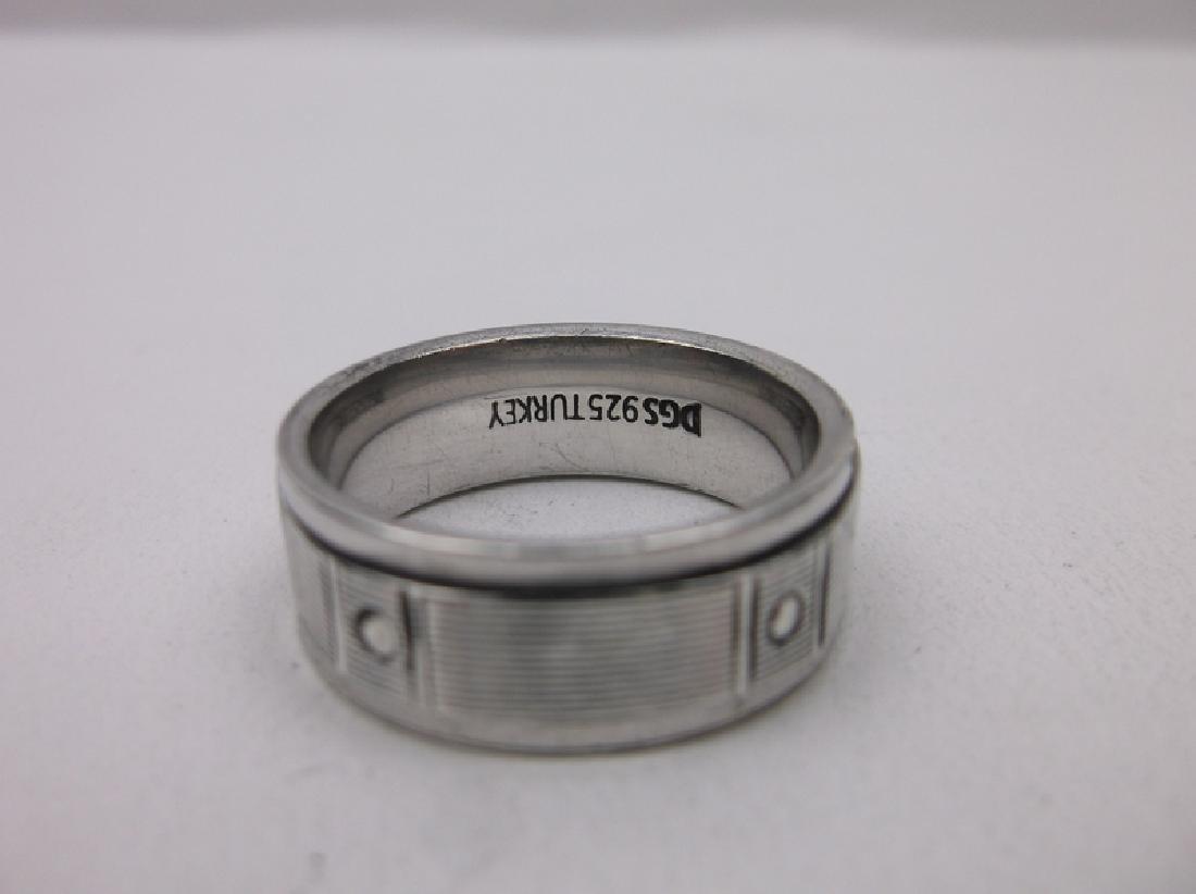 Stunning Sterling Silver Spinning Ring 10 Mens - 2