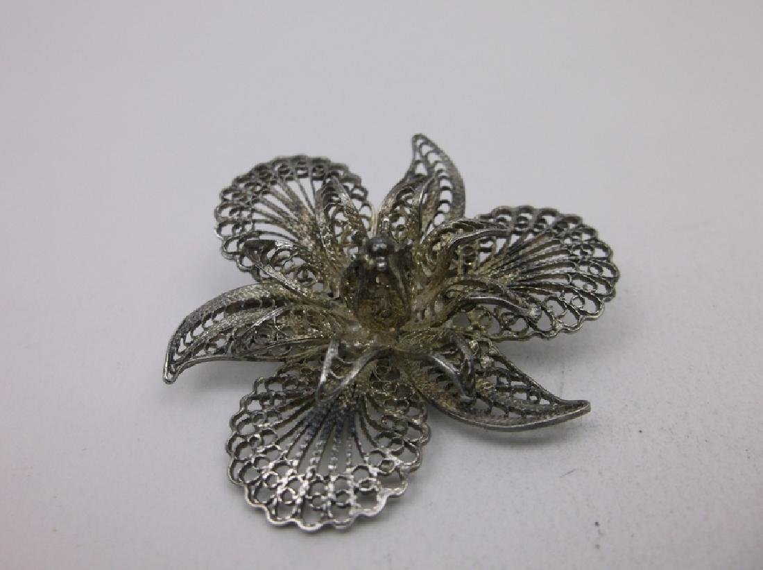 Gorgeous Antique Sterling Silver Filigree Brooch