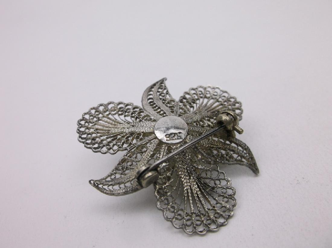 Gorgeous Antique Sterling Silver Filigree Brooch - 2