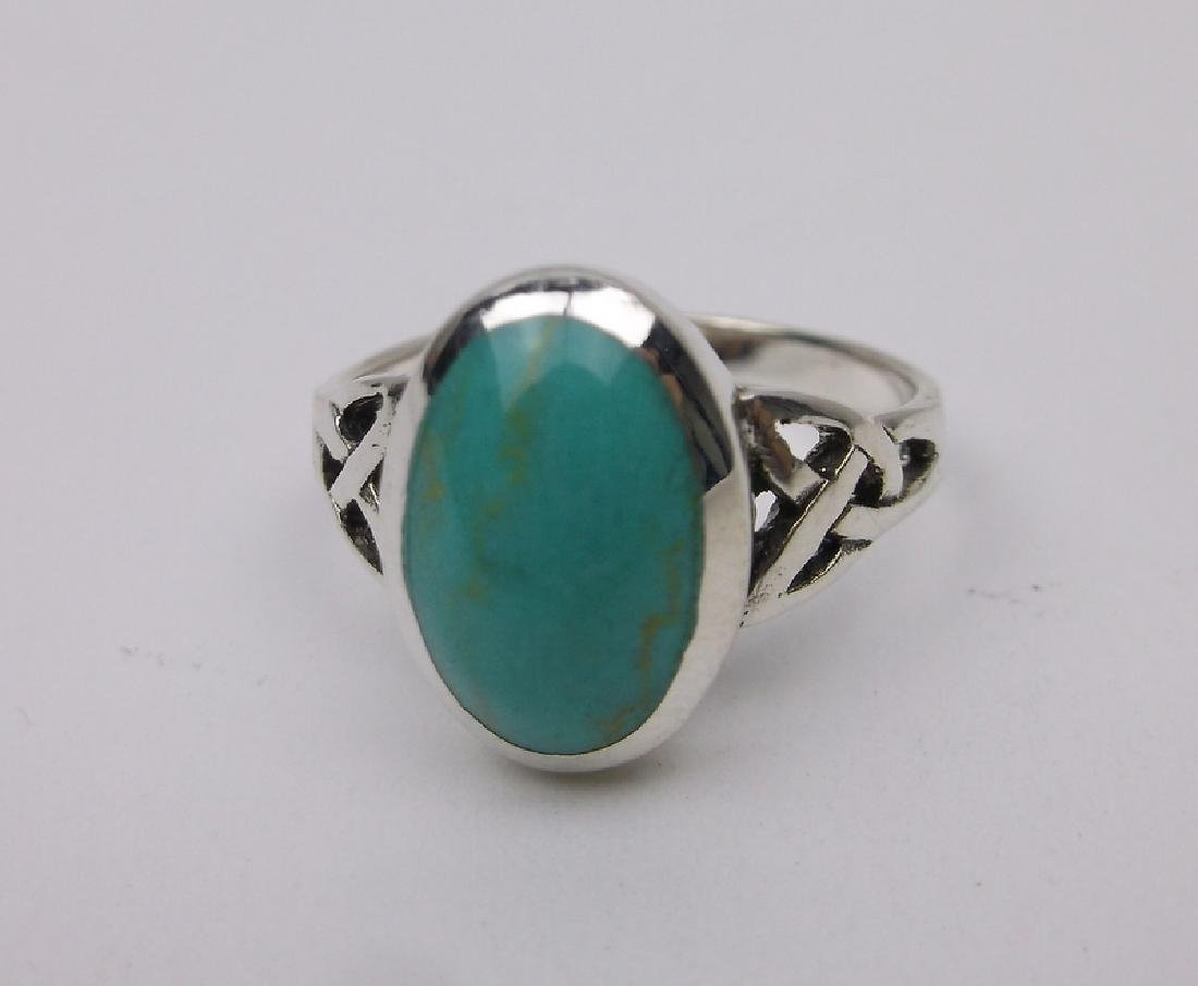 Stunning Sterling Silver Turquoise Ring 6