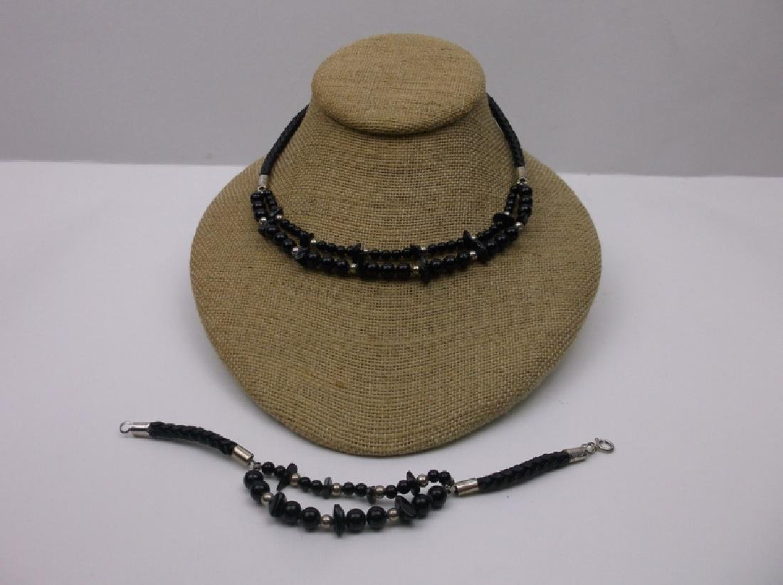 Stunning Sterling Onyx leather Necklace Bracelet New