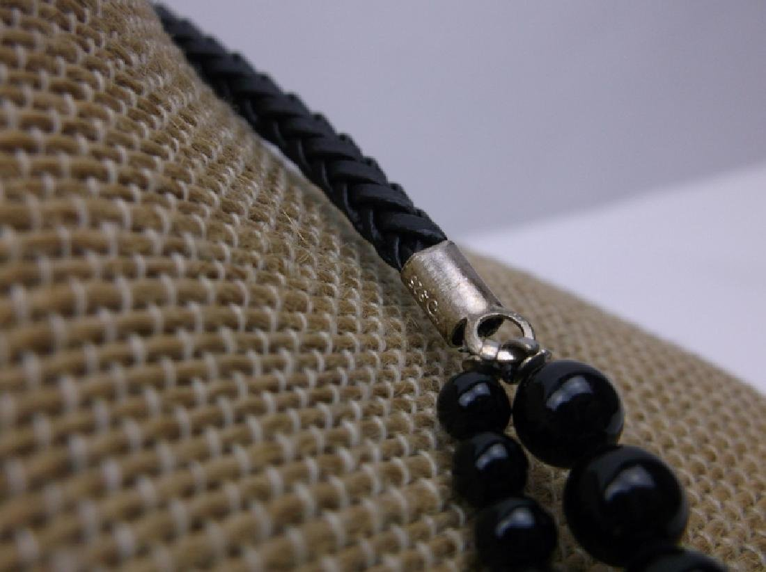 Stunning Sterling Onyx leather Necklace Bracelet New - 2