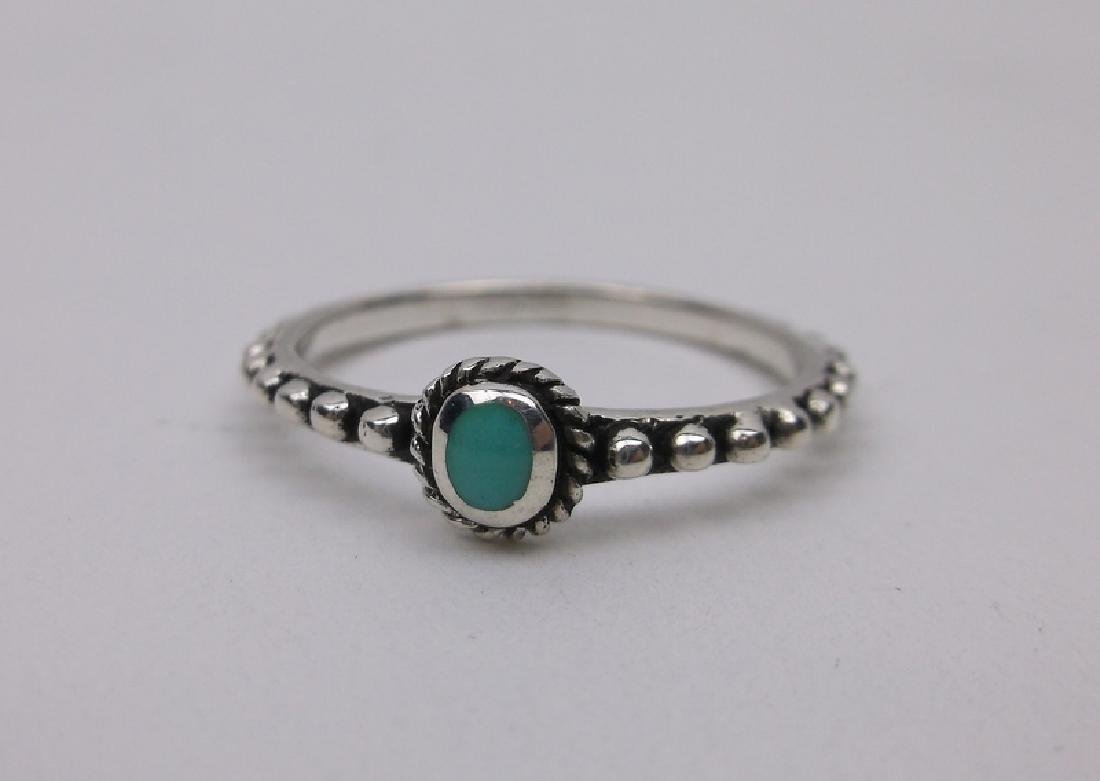 Stunning Sterling Silver Turquoise Dot Ring 7