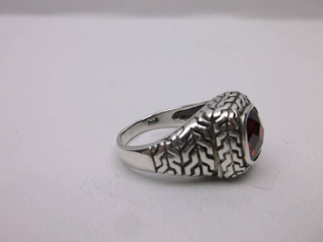 Stunning Sterling Silver Red Stone Ring 7 - 2