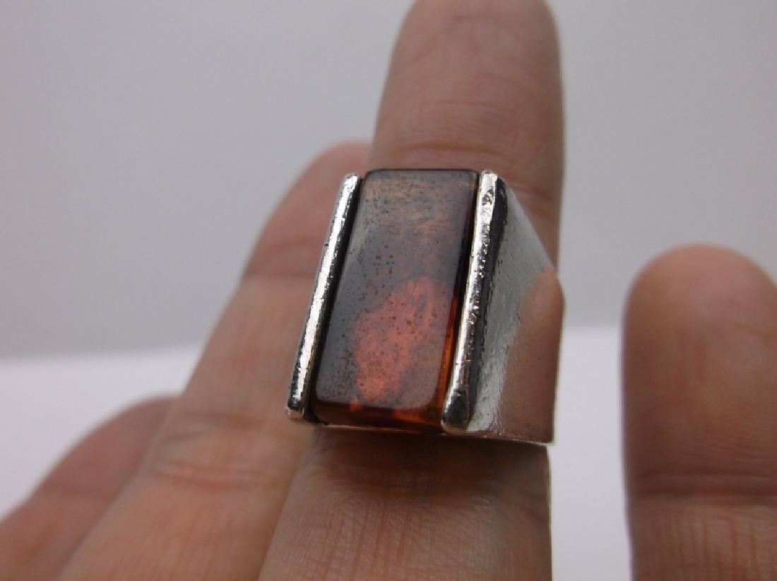 Large Vintage Sterling Silver Amber Ring 7