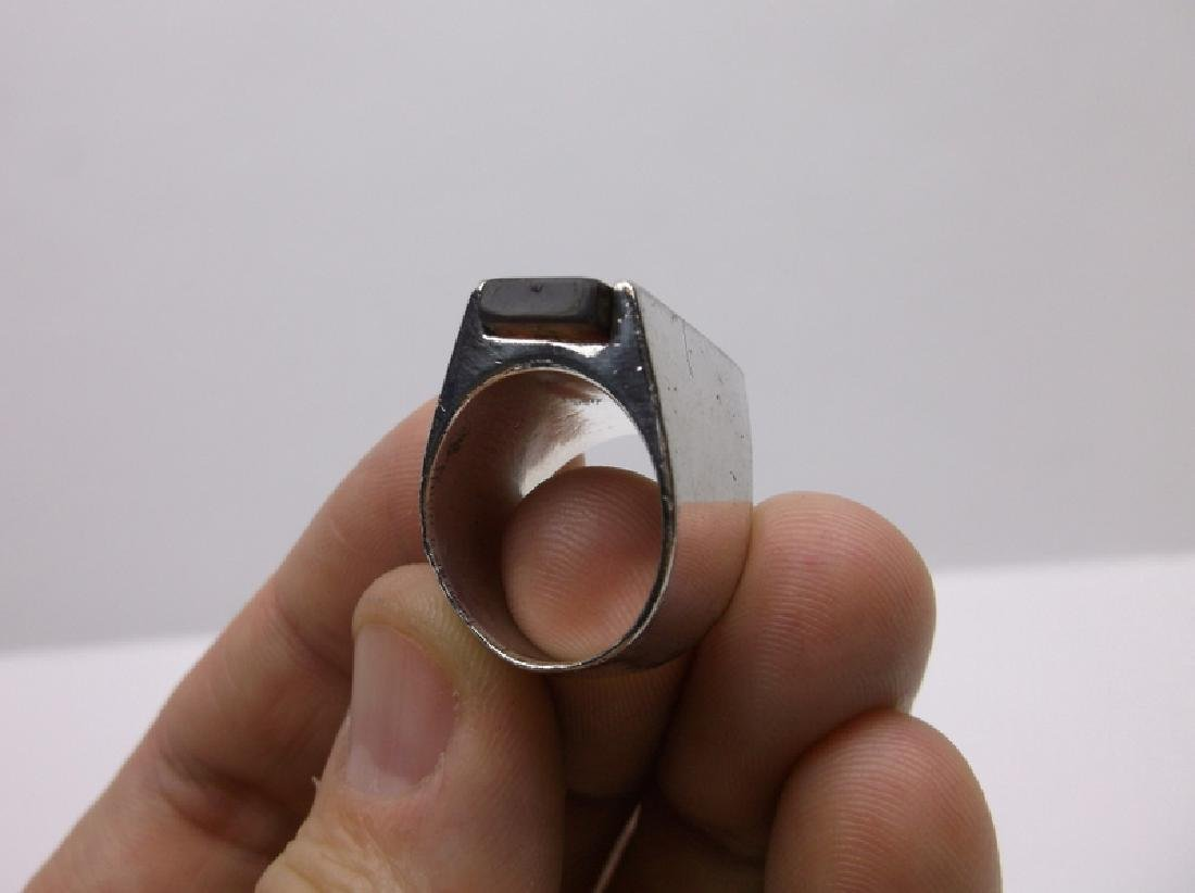Large Vintage Sterling Silver Amber Ring 7 - 2