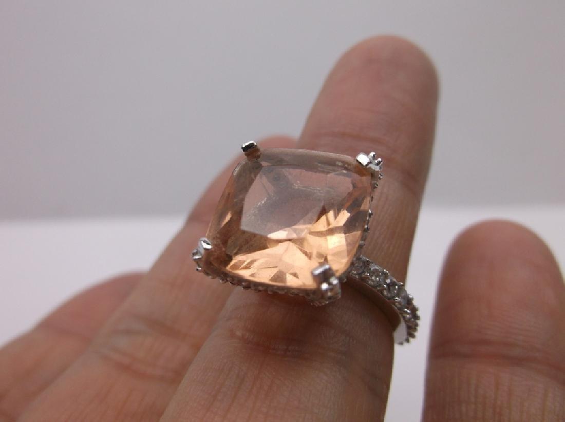 Stunning Sterling Silver Orange Stone Ring 6