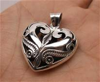 Stunning Sterling Silver Heart Pendant Thick Heavy